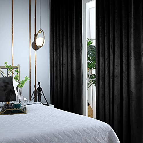 WOWOTEX Velvet Curtains for Bedroom - 1 Panel Soft Window Curtain 84 inch Long Grommet Drapes for Living Room, Studio, Black, 52 x 84 inches
