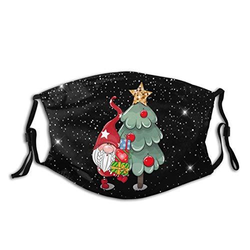Funda universal lavable para deportes al aire libre, manga de boca, impresión de dibujos animados árbol de Navidad y Papá Noel con patrón de regalos con 5 capas reemplazable filtro de carbón activado