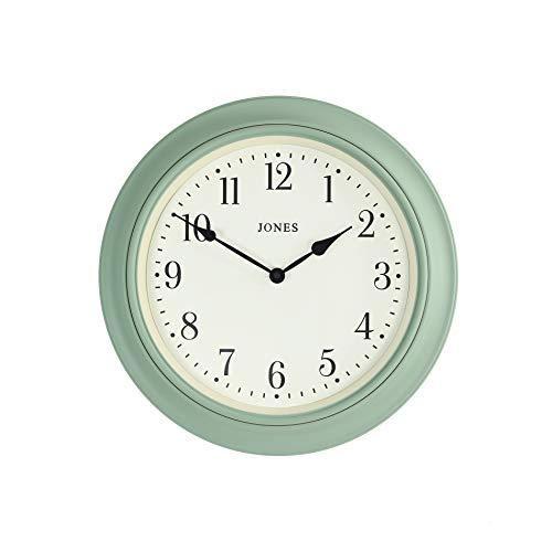 JONES CLOCKS® Supper Club große Wanduhr, klassisches Design, cremefarbenes Zifferblatt und Schwarze Zeiger, 40 cm (Entenei grün)