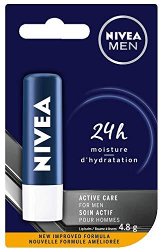 NIVEA MEN Active Care Lip Balm (1 x 4.8g Stick), Quick-Absorbing Dry Lip Balm, Shine-Free Lip Moisturizer with Shea Butter, Avocado and Jojoba Oils, 24-Hour Hydration