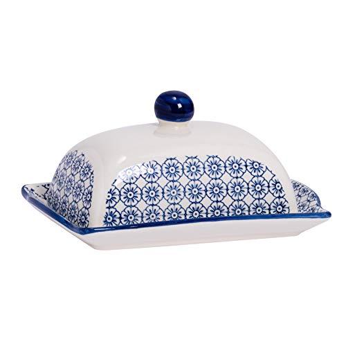 Nicola Spring Gemusterte Butter/Margarine Schale mit Deckel - 185 mm - Blaues Blumen-Design Aufdruck