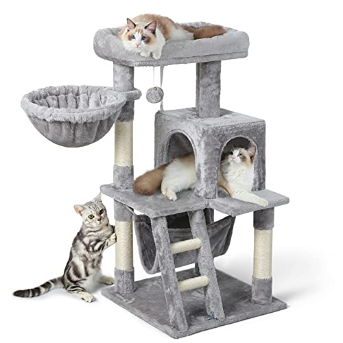 rabbitgoo Cat Tree Cat Tower for Indoor Cats, Multi-Level Cat House Condo with Large Perch, Scratching Posts & Hammock, Cat Climbing Stand with Toy...