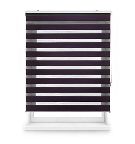 Blindecor LIRA - Estor enrollable de doble capa Noche y Día, Violeta, 100 x 180 cm, ancho x largo