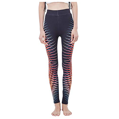 Padaleks Leggings for Women Pattern Print High Waist Yoga Pants Workout Non-See Through Bottoms Athletic Active wear Black