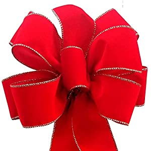 12-Pack Christmas Bows 10″ x 26″ ($7.50 ea.) Handmade with 2.5″ Red Velvet Gold Wired Edge Ribbon Indoor Outdoor Wreath Home Decor Tree Decoration Packed Fluffy Not Flat