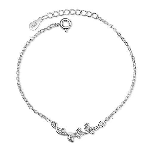 925 Sterling Silber Armband Damen Mädchen Glücksbringer Ginkgo Blatt Armband
