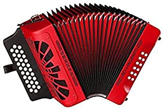ACORDEON DIATONICO - Hohner (A/4944) (EL Rey del Vallenato FBbEb) (Rojo) Con funda de Calidad