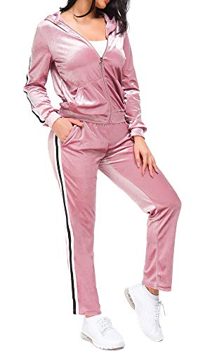 TrendyCosmo Pink Sweatsuits for Women, Velour Tracksuit Womens Stripe Jogging Zipped Hoodie and Pants Sports Jumpsuit