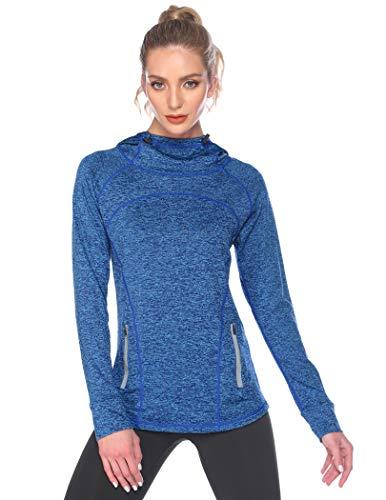 ADOME Damen Langarm Sporttop Sportshirt Sweatshirt Laufshirt Funktionsshirt Laufen Yoga Tops Übung Schutz Activewear mit Kapuze und Reißverschlusstasche