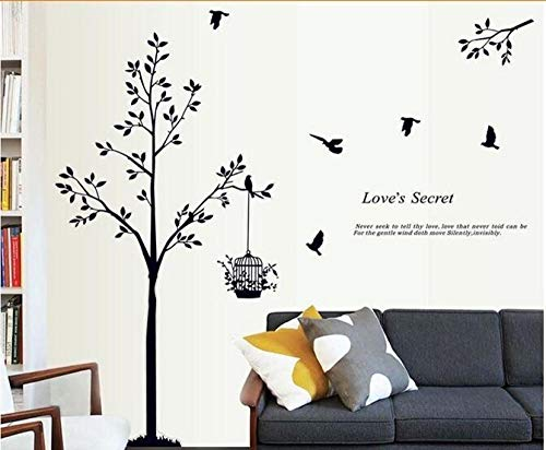 3D Wall Sticker Wallpaper Vinyl Home Decoration DIY Black Tree Bird Cage Size:60X90Cm/24X36 Inch Lyjzlylyq