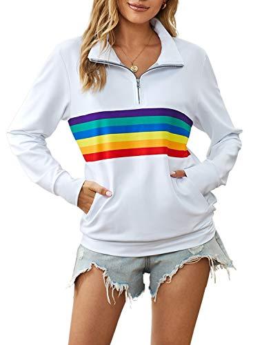 CORAFRITZ - Sudadera de manga larga para mujer, diseño de rayas arcoíris con cierre de 1/4 y bolsillo Blanco blanco M