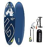 Gladiator PRO 10'8 SUP - Tabla de paddle surf - Pack premium incluye remo de palo, bolsa, bomba y aleta