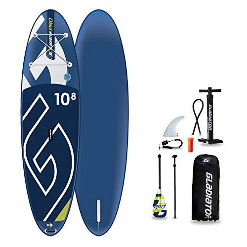 Gladiator PRO 10\'8 SUP Stand-Up-Paddle-Board – Premium-Paket inklusive Paddel, Tasche, Pumpe und Flosse