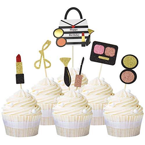 Unimall Global 21Pcs Glitter Makeup Cupcake Topper Bachelorette Party Cake Topper Brautdusche Mädchen Alles Gute zum Geburtstag Party Kuchen Dekoration Lieferungen