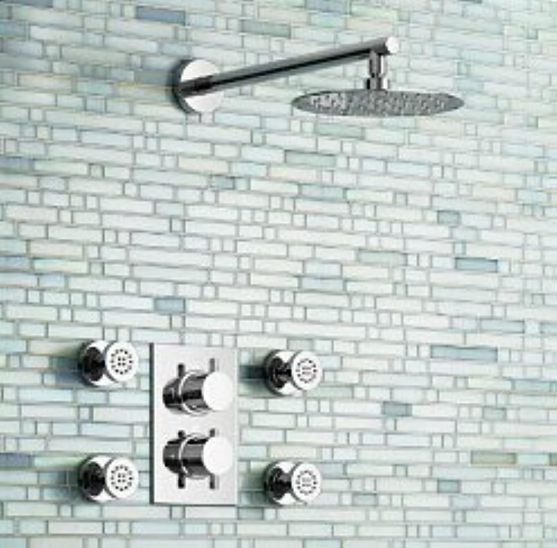 8 Ultra-dünnes rundes Thermostat-Duschset mit 4 Massagedüsen, Grünckt an der Wand montiert, wei