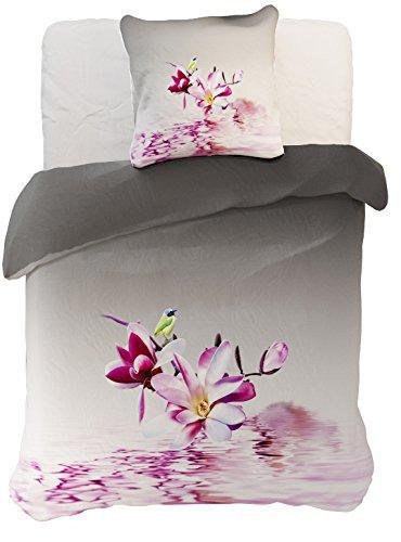 DecoKing 60865 Bettwäsche 135x200 cm mit 1 Kissenbezug 80x80 grau 3D Microfaser Bettbezug Blumenmuster lila rosa weiß anthrazit Stahl Graphit Raspberry