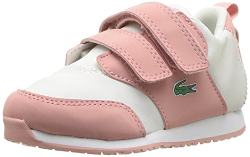 Lacoste Baby L.Ight Sneaker, Pink Off White Textile, 10. Medium US Toddler