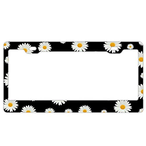 White Daisy Black Aluminum Metal License Plate Frame Tag with Chrome Screw Caps - Car License Plate Covers for US Vehicles