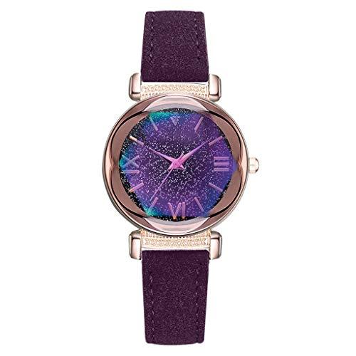 JZDH Relojes para Mujer Moda Simple dial Estrellado Cuero cinturón de Cuero señoras Reloj de Cuarzo Regalo Brazalete para Mujeres para Relojes para Mujer Relojes Decorativos Casuales para Niñas Damas