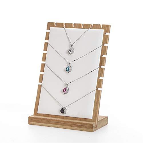Joyero Organizador de Joyas Collar de tablón de bambú Collar de exhibición del soporte del collar del soporte de la pantalla, soporte de la pantalla del collar del tablón de madera, el soporte del alm
