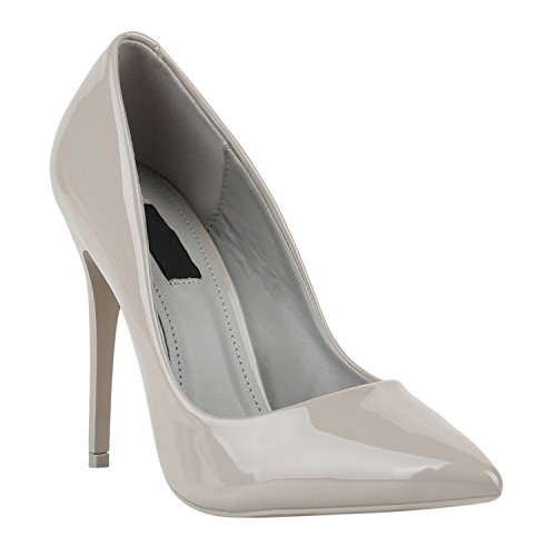 Elegante Damen High Heels Spitze Pumps Lack Metallic Stiletto Samt Glitzer Nieten Abend Business Schuhe 142124 Grau Lack 36 Flandell