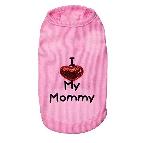 zoonpark® Puppy Hund Kleidung, I Love my mommy, Dog Pet Puppy Weste T-shirt Kleidung für kleine Hunde Welpen Katze summper Spring