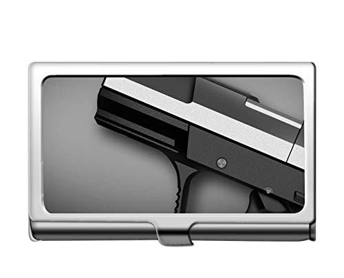 Estuche profesional de la tarjeta de crédito del negocio/caso de la identificación, portatarjetas del acero inoxidable de la pistola del arma