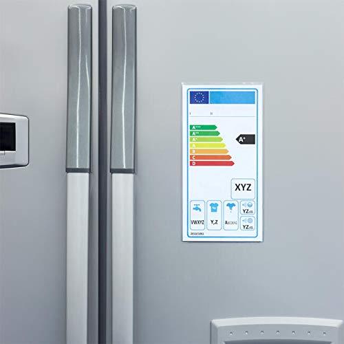 10 x Schutzhüllen für elektrische Effizienz-Etiketten, mit Magnet, für Haushaltsgeräte.
