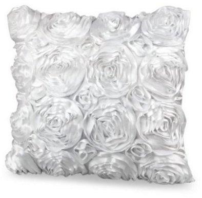 Yeah67886 Blanc satiné Fleur Rose carré Taie d'oreiller Coussin Taie d'oreiller Coque (40 x 40 cm)