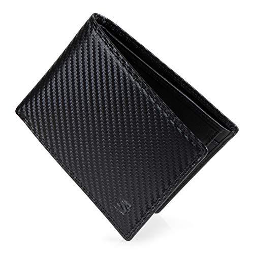 SERASAR Leder Geldbörse Herren mit RFID Schutz & Carbon Optik | Schwarzes Echtleder | 9 Kartenfächer | Geschenkschachtel | Tolle Geschenkidee | Leather Wallet for Men | Herren-Geldbeutel | Kohlefaser