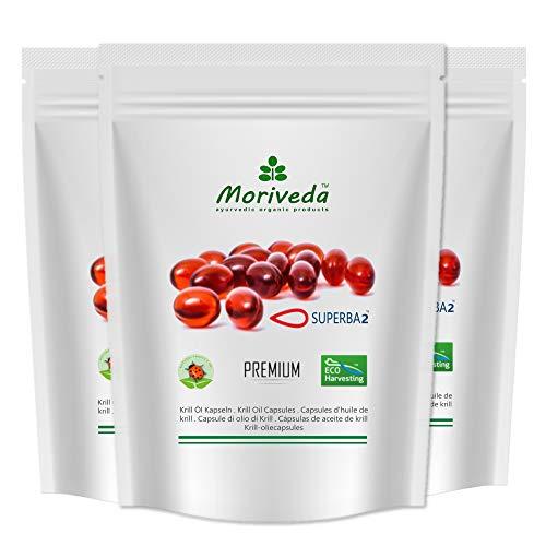MoriVeda® - Cápsulas de aceite de Krill Superba - aceite de krill premium con Omega 3,6,9, astaxantina esterificada, fosfolípidos, colina, vitamina E (3x60 cápsulas blandas)