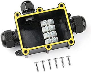 Karcy Waterproof Junction Box IP68 Waterproof Connector 3 Way Outdoor Electrical Junction Box Black Pack of 1