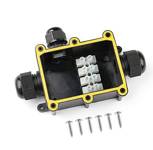 Waterproof Junction Box Karcy IP68 Waterproof Connector 3 Way Outdoor Electrical Junction Box Black Pack of 1