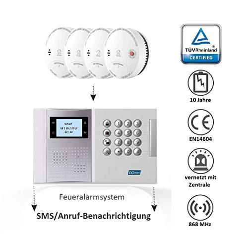 LGtron LH-99F Funk Rauch-/Hitzemelder TÜV geprüft EN14604 Zertifiziert mit 10-J.-Batterie...