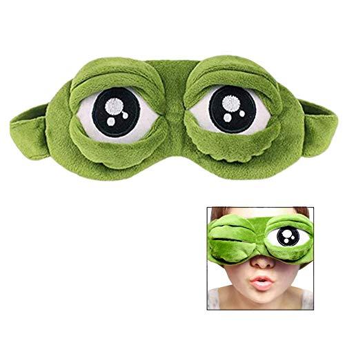 LSTK 3D Kikker Oogmasker Cover Slaap Masker Slaap Rust Slaap Anime Grappig Gift (Groen)
