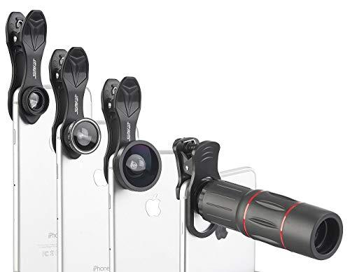 Somikon Handyteleskop: 11-teiliges Smartphone-Vorsatz-Linsen-Set mit Stativ und Fernauslöser (Vorsatzlinsen)