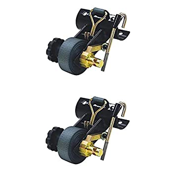 2  Buyers Round Tube Ladder Rack Tie Downs 1-1/2  Strap Bolt On Black Powder Coated
