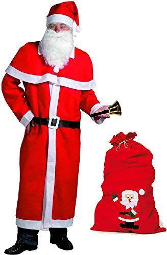 Idena 8580108 - Kerstman kostuum, 5-delig, rood (met vilten zak + bel)