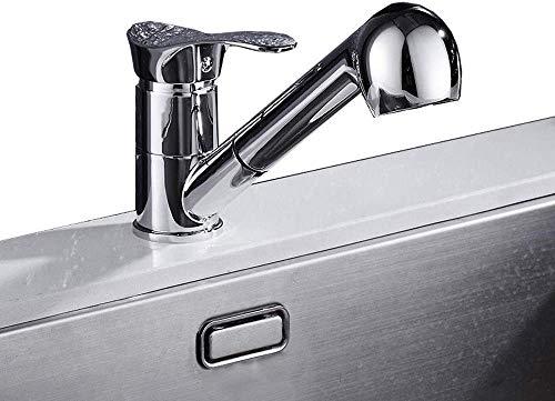 TDDRW Monomando Extraible Lavabo Grifo Ducha De Mano ExtraíBle LatóN Cuerpo Principal CeráMica VáLvula RotacióN De 360 ° Agua FríA Y Caliente Cocina Grifo