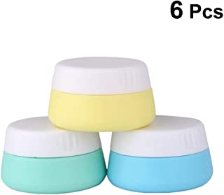 Uonlytech 6pcs Silicone Travel Cosmetic Containers 10ml Refillable Cream Containers Jar with Screw Cap