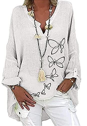 KTMAID Camicia da Donna Oversize in Lino, Casual, con Scollo a V, con Stampa a Farfalla, Elegante, Lunga con Scollo (A7,XXL)