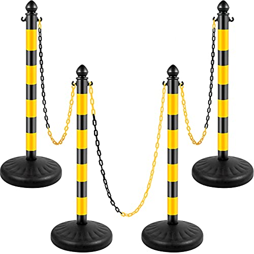 VEVOR Plastic Stanchion, 4pcs Chain Stanchion, Outdoor Stanchion w/ 4 x 39inch Long Chains, PE Plastic Crowd Control Barrier for Warning/Crowd Control at Garage, Construction Lot, Driveway, Elevator