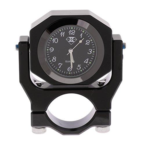 MagiDeal Thermomètre pour Guidon 7.8'' Support Montage Horloge pour Honda - Noir