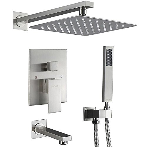 Great Deal! Esnbia Shower System, Brushed Nickel Shower Faucet Set with Tub Spout and 10 Rain Showe...
