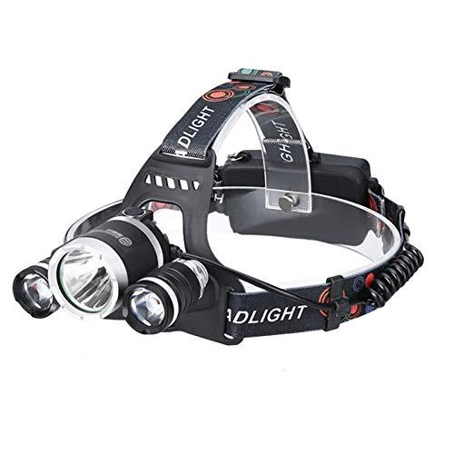 Faros delanteros,linternas de cabeza superbrillantes 6000 lúmenes,faro LED ajustable de 90 grados con 3 luces 4 modos,linterna de manos libres recargable por USB impermeable para correr,pesc