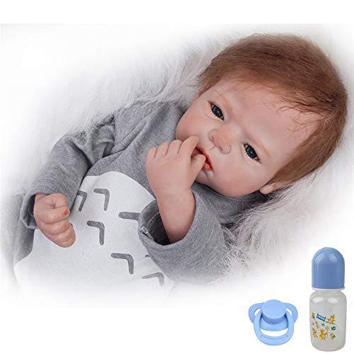 ZIYIUI Realista Muñeca bebé Reborn 55 cm Recién Nacido Suave Silicona Vinilo Realista Niño y Ropa Gris Hecha a Mano
