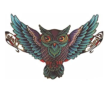 Body Art Removable Waterproof Temporary Tattoo Paper Sticker Sexy Color Bird Owl Design  Green owl