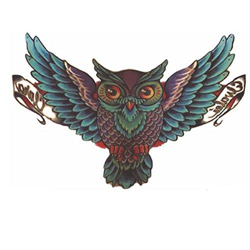 Body Art Amovible Étanche Autocollant De Papier De Tatouage Temporaire Sexy Couleur Oiseau Hibou Conception (owl vert)