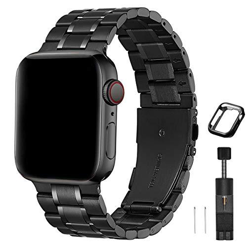 HEKAI Armband Kompatibel mit Apple Watch Armband 42mm 38mm 40mm 44mm Metall, Verstellbare Edelstahl Ersatzbänder für die iWatch Serie 6&5/4/3/2/1,SE(42mm 44mm, Schwarz)