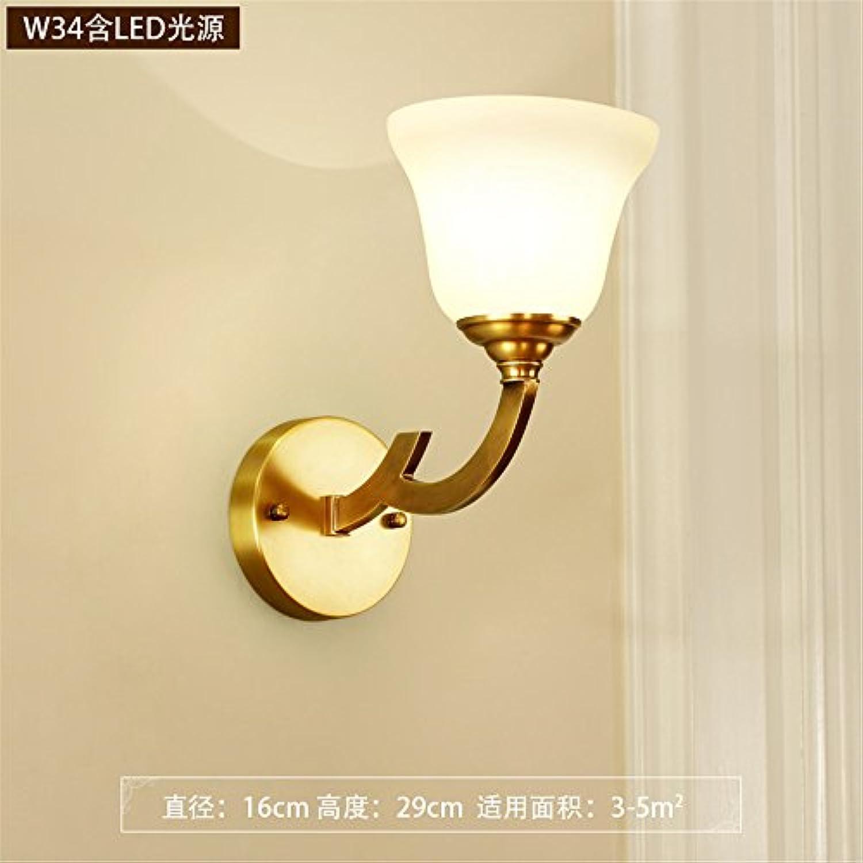 StiefelU LED Wandleuchte nach oben und unten Wandleuchten Kupfer Wandleuchte Schlafzimmer Nachttischlampe rustikales Wohnzimmer mit Balkon, ein Doppelzimmer, ein-Header (16  29 cm)